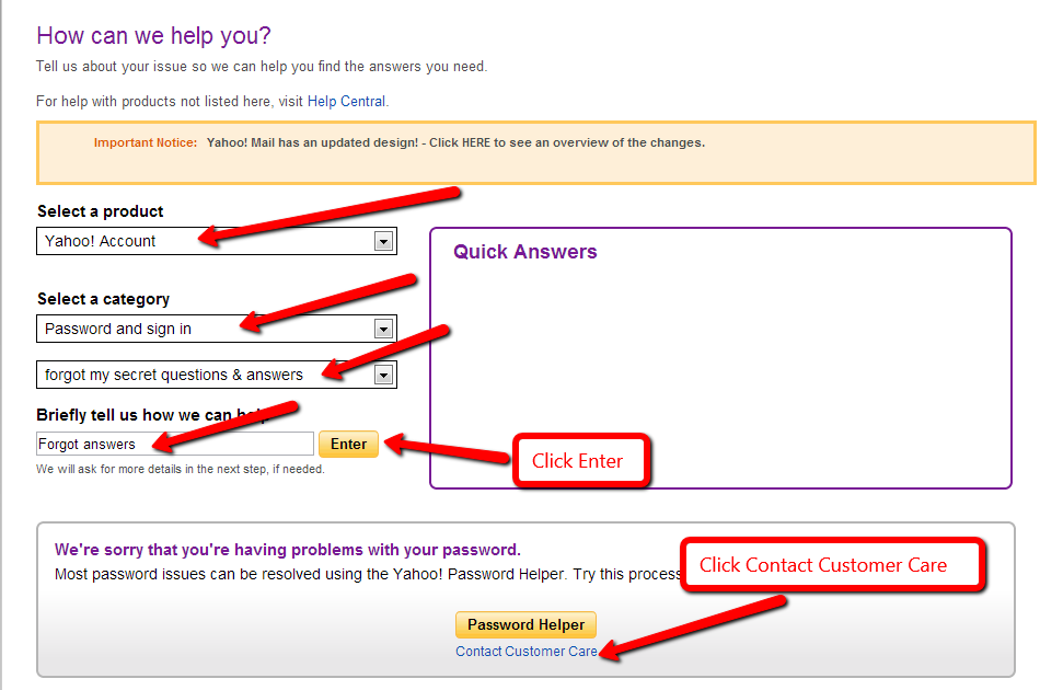 how to change my security questions on yahoo mail