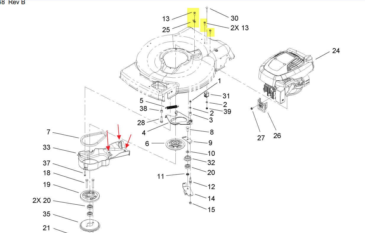 need help getting toro 20076 mower to release plastic