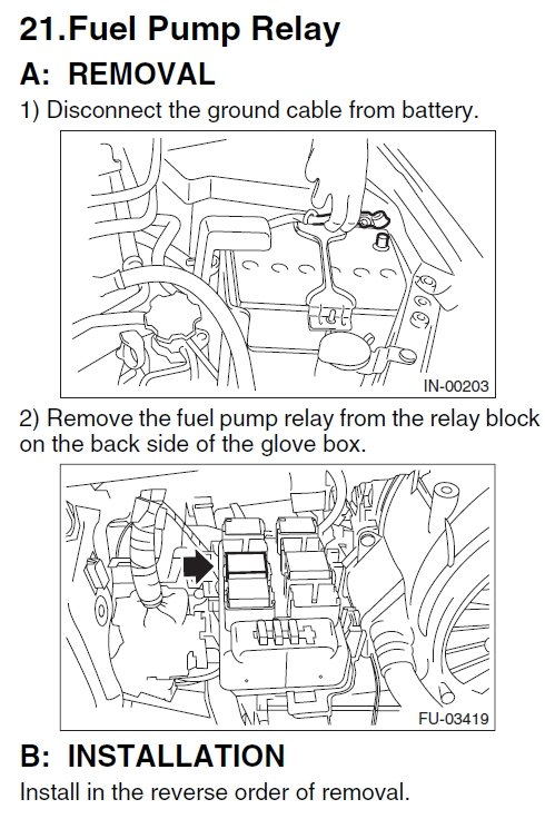 where is the fuel pump relay and fuel control module on a