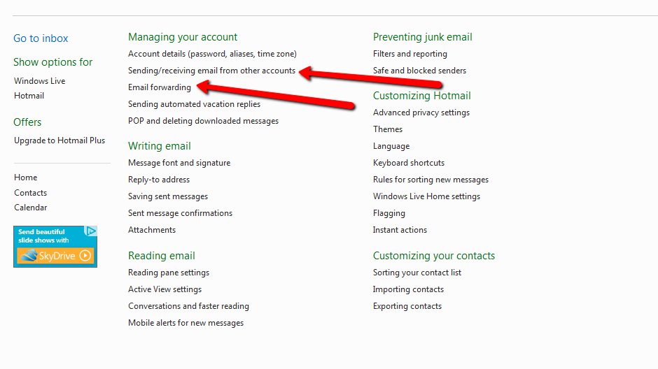 how to change the time on emails hotmail
