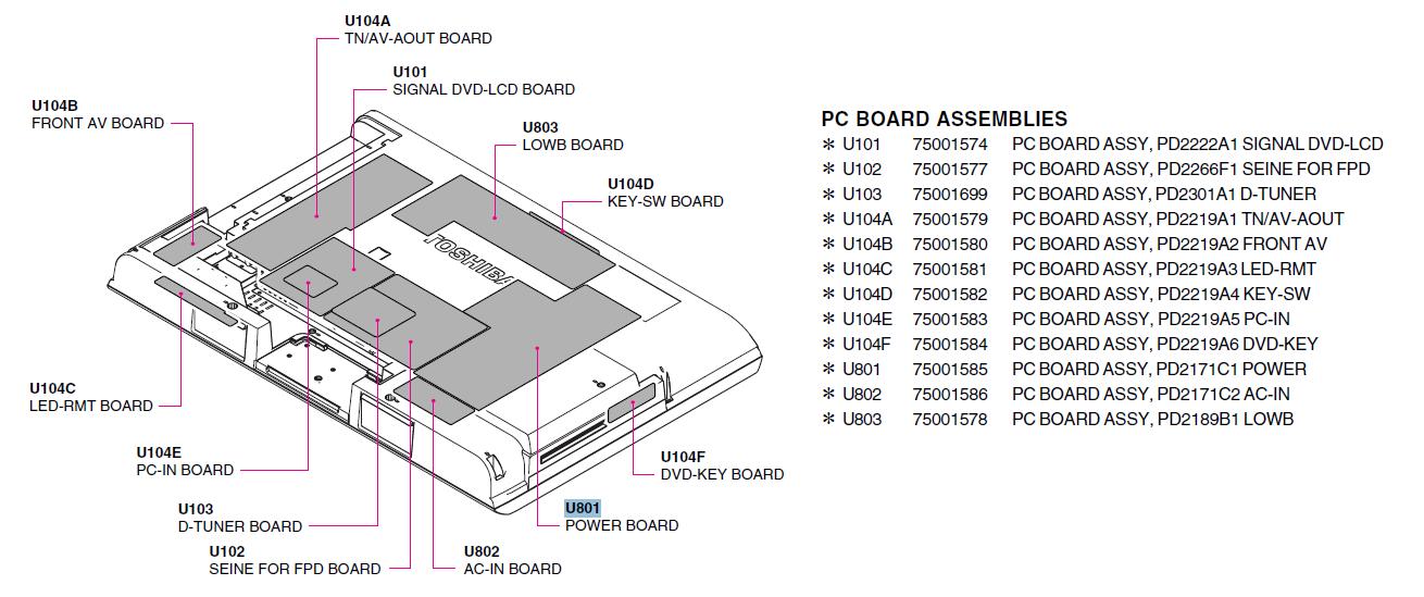 Tv Replacement Parts : Toshiba parts keywordsfind