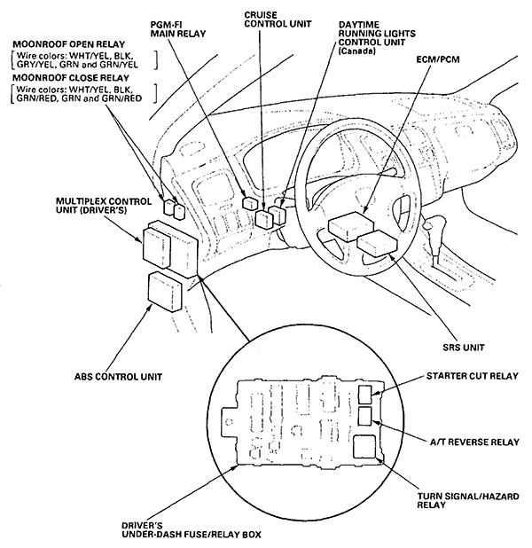 Honda Civic Del Sol Fuse Box Diagrams 374429 likewise Clicking Main Relay 2261417 moreover Dodge Caravan 3 3 1991 Specs And Images besides 2003 Honda Cr V Fuel Filter Location additionally DL860 UNIVERSAL Car Auto Keyless Central 1329568624. on 2005 honda accord main relay
