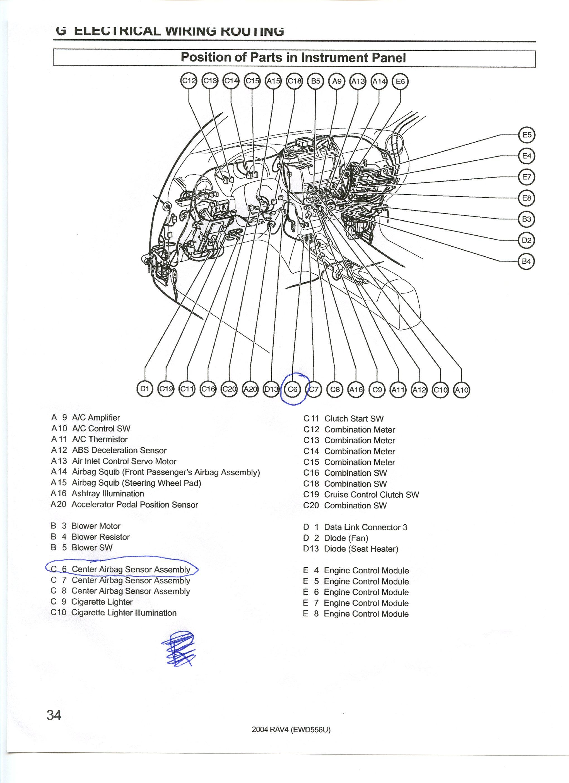 how do i find the air bag sensor assy in 2002 toyota rav 4
