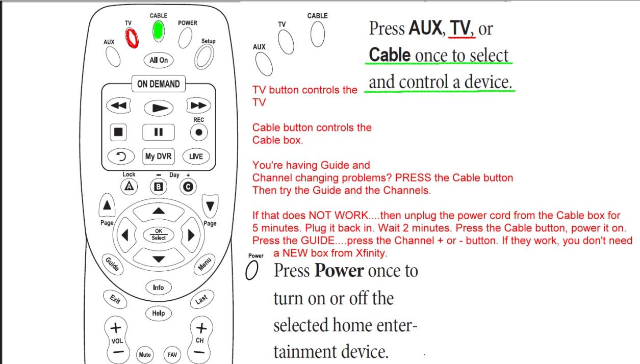 Xfiniti remote settings