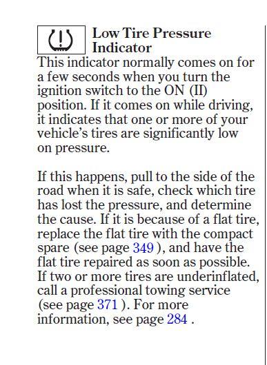 Tire pressure monitoring system tpms 2014 honda accord for Honda accord tire pressure light stays on