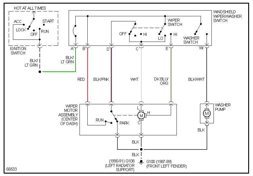 87 f150: low speed wire for the wiper motor---- at the swich 99 f350 wiper motor wiring diagram #11