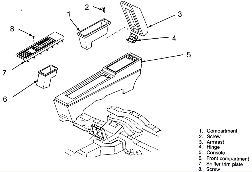 service manual  remove the center consal for a 1989 buick
