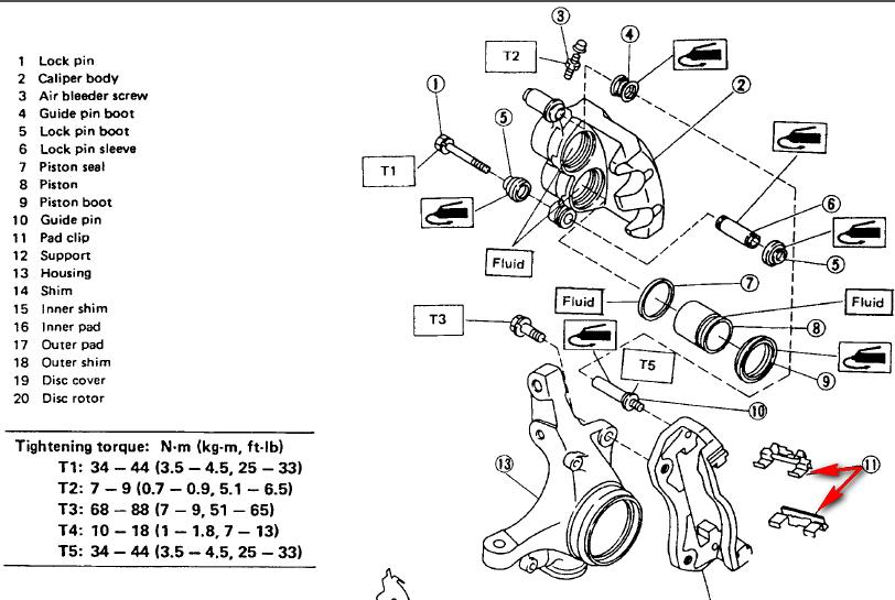 subaru legacy brake pad diagram