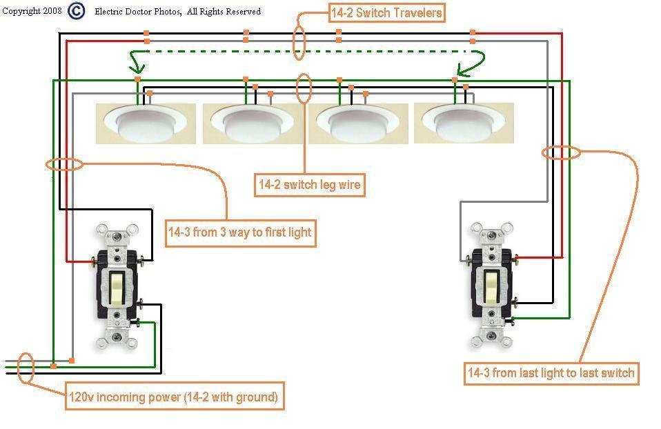 Wiring Diagram Light With Two Switches : I have two three way switches with dome lights in