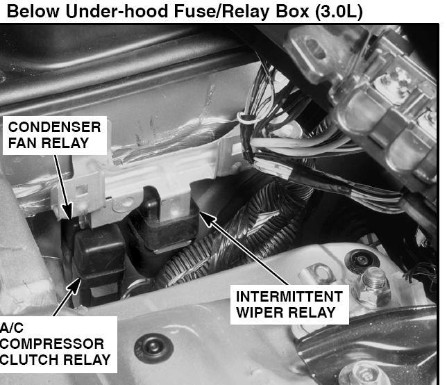 98 acura 3.0cl ac compressor clutch relay location
