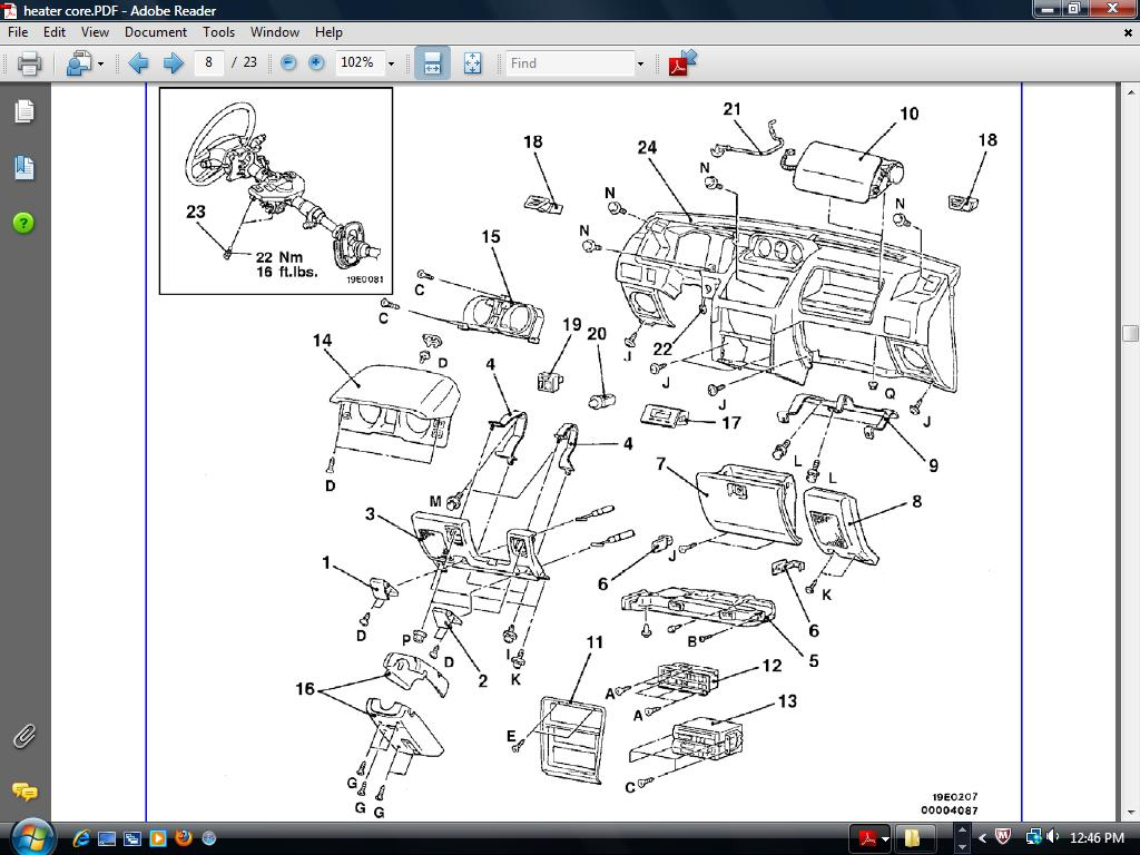 I Need The Diagram For The Dash  To Replace Heater Core On