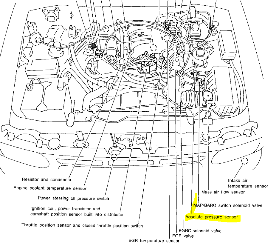 absolute pressure sensor location 2001 nissan pathfinder