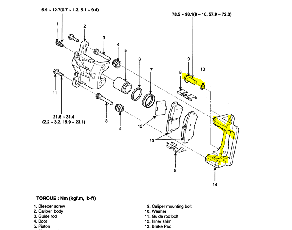 subaru brake caliper diagram