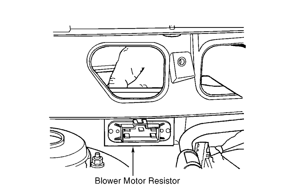 Where Is The Front Blower Motor Resistor Block Located In