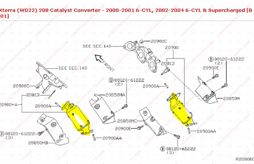 Xterra passenger side autozone gaskets catalytic converter
