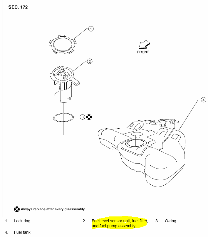 where is the fuel filter on a 2005 nissan quest