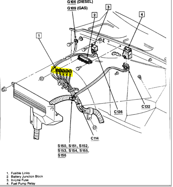 i have no brake lights on my 1992 chevy pickup c2500 i have check under the hood here is a diagram check the links by pulling on them and see if one pulls apart