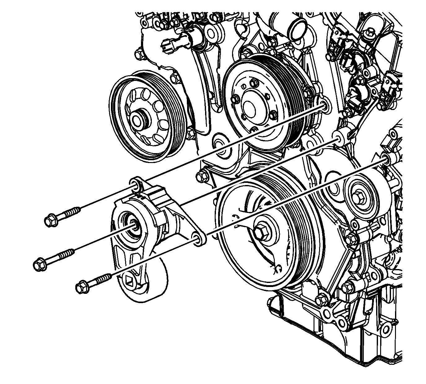 service manual  remove a tensioner for a 2008 saturn