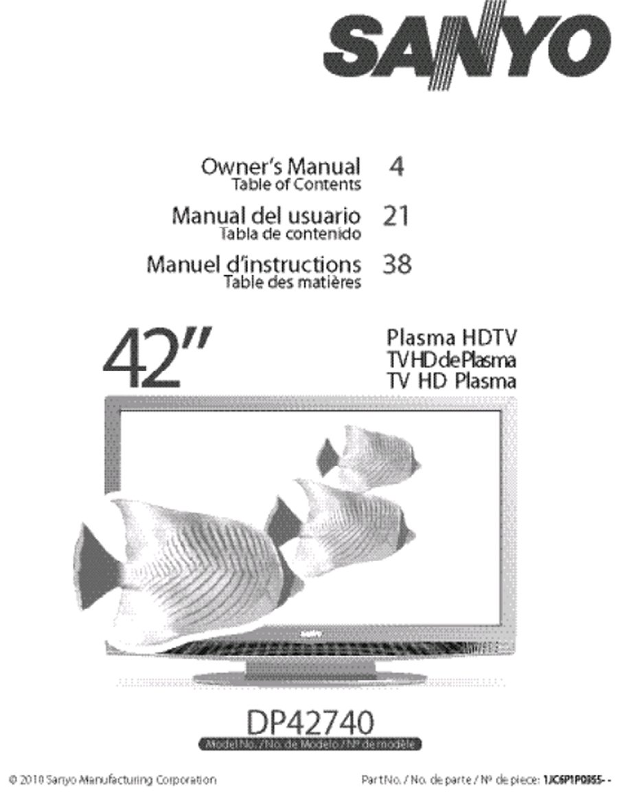 sanyo 42 inch tv manual