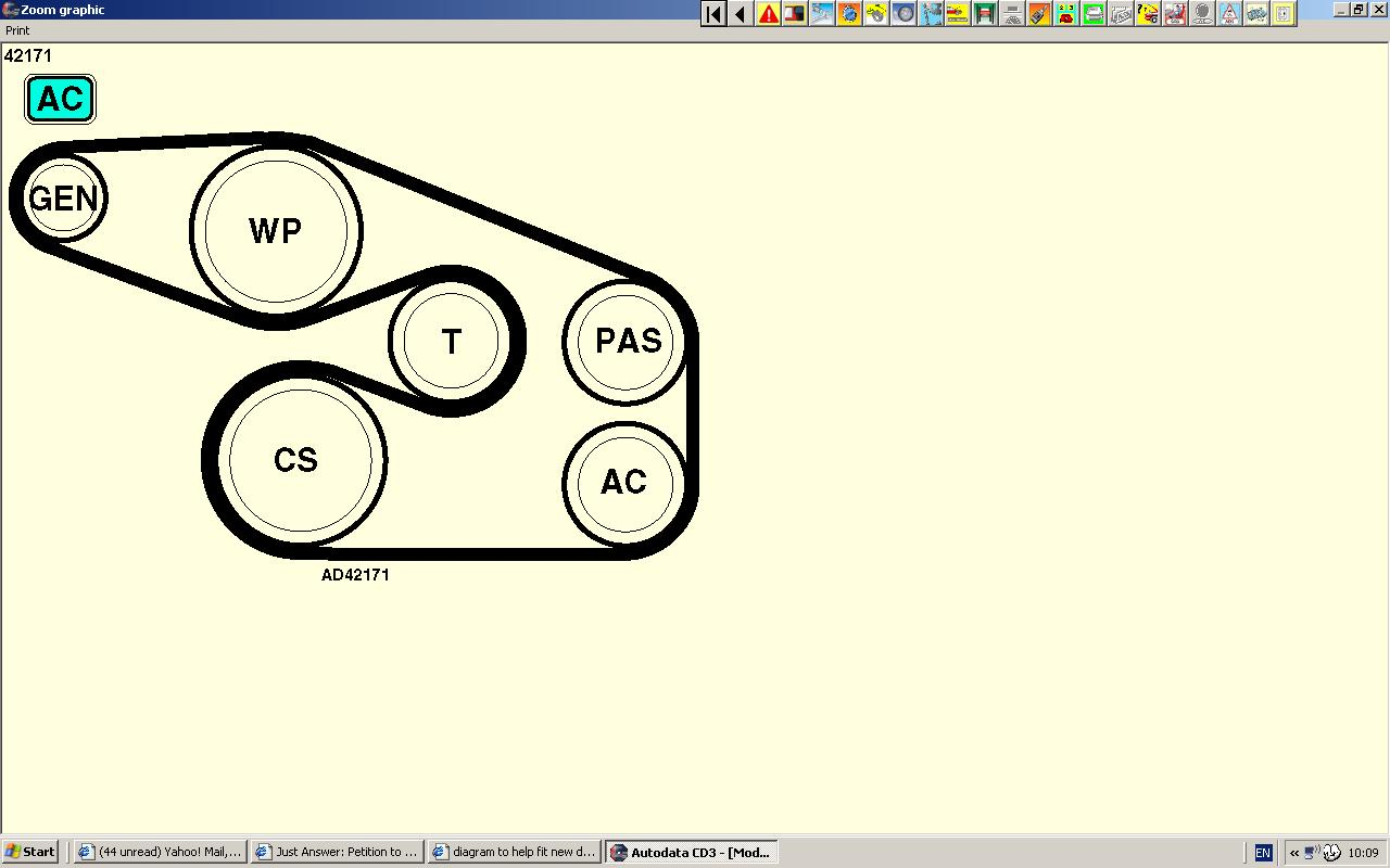 Diagram To Help Fit New Drive Belt On Vauxhall Sintra 2 2