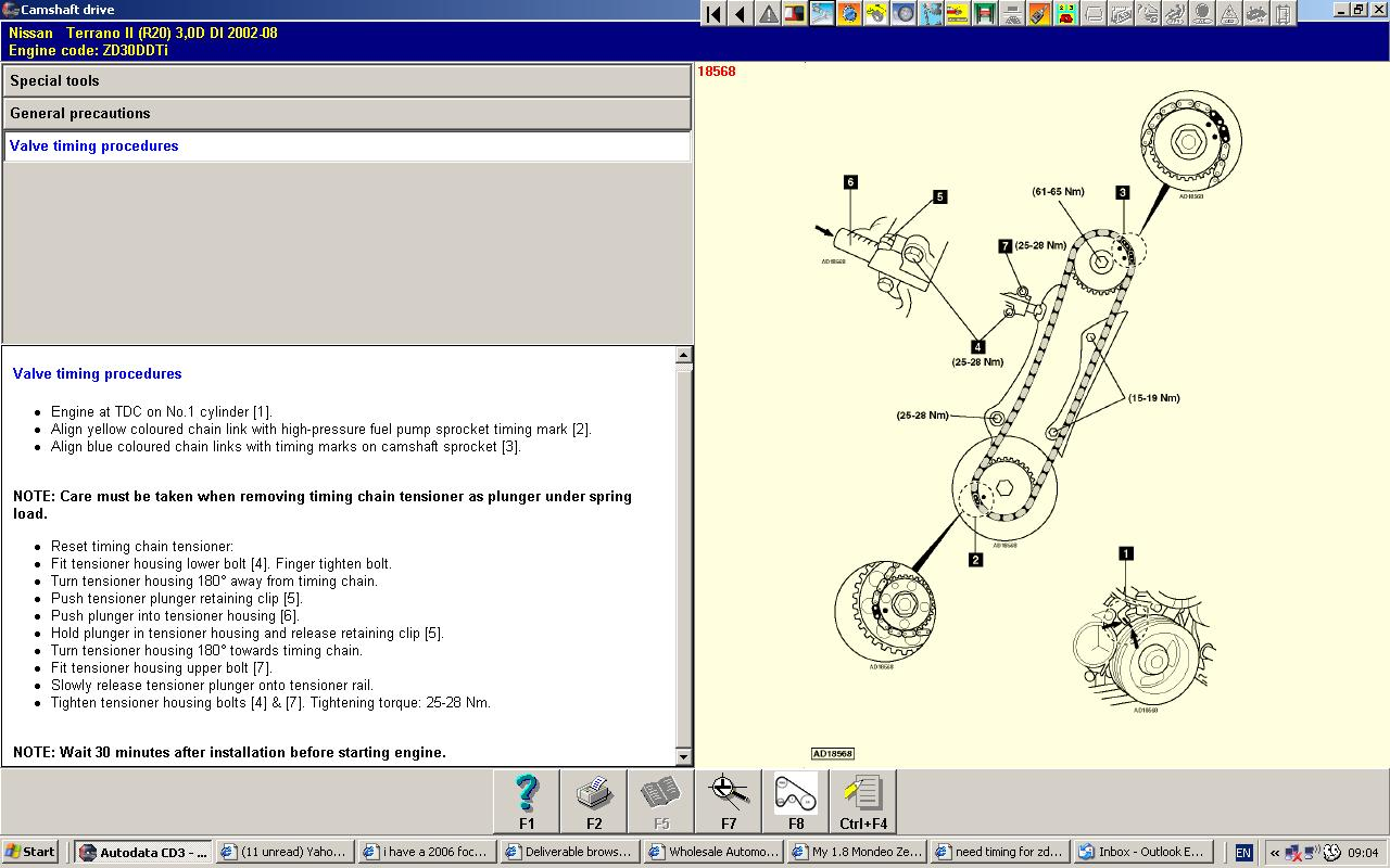 nissan zd30 timing mark 3 6l engine timing mark diagrams