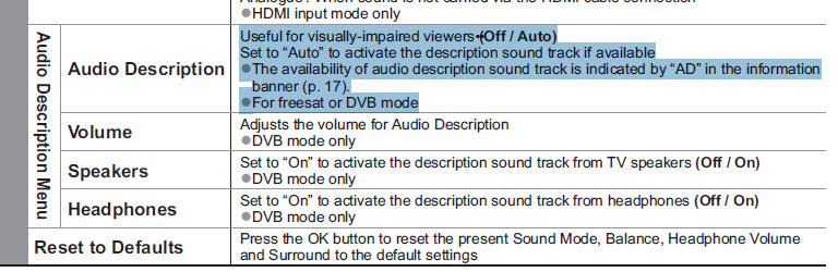 how to turn off audio description on tv