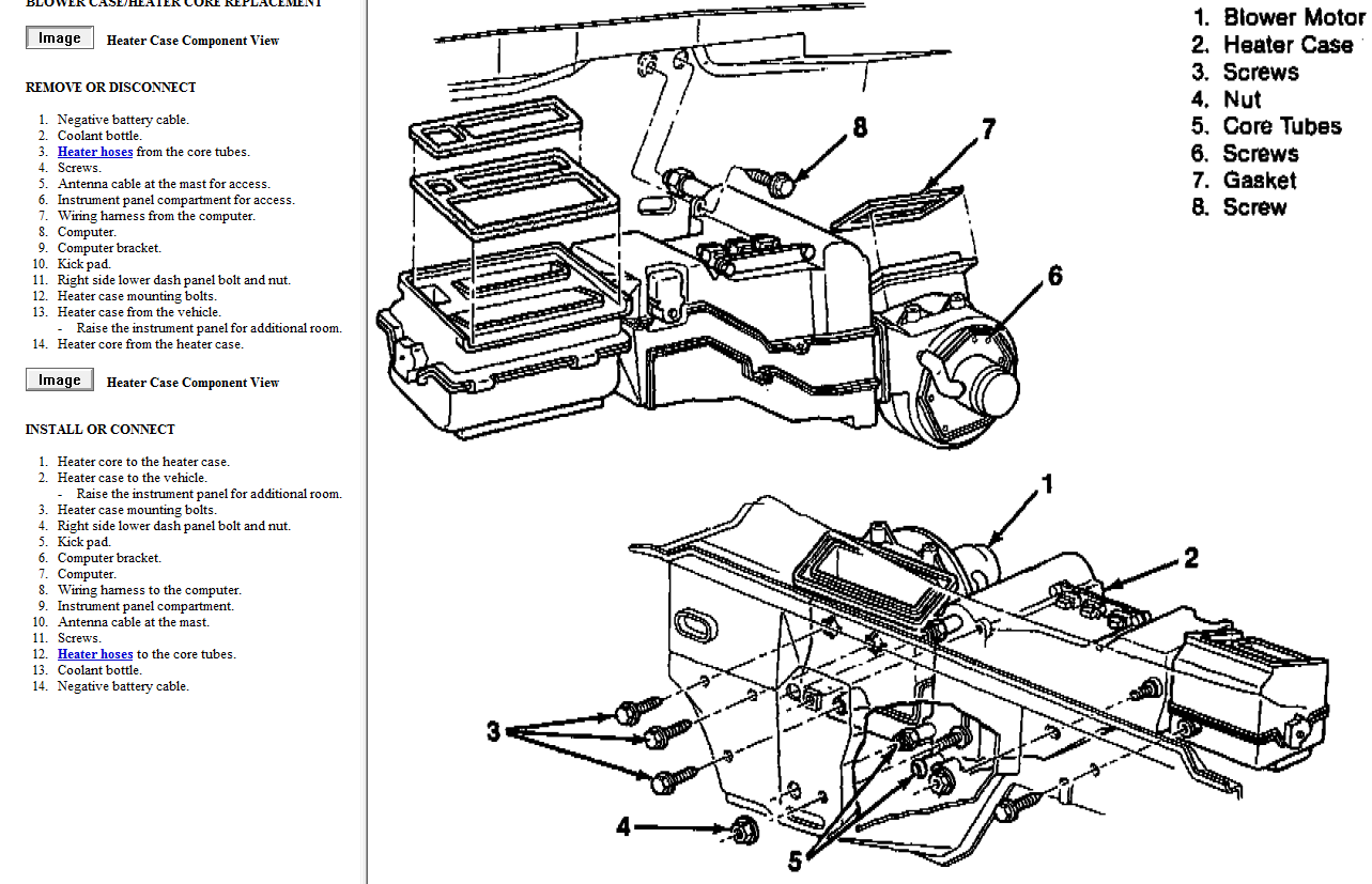 service manual  how to remove heater from a 2010 chevrolet