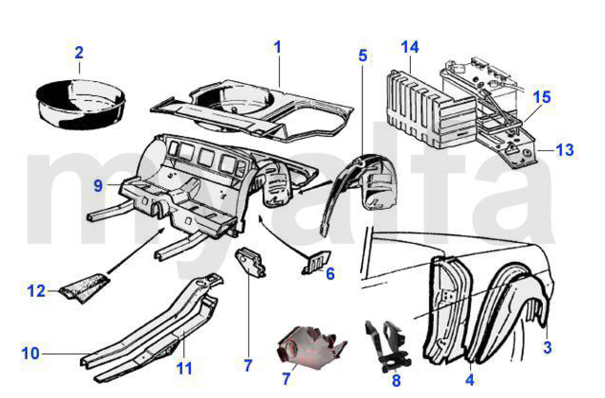 where is the battery located in a 1987 alfa romeo spider