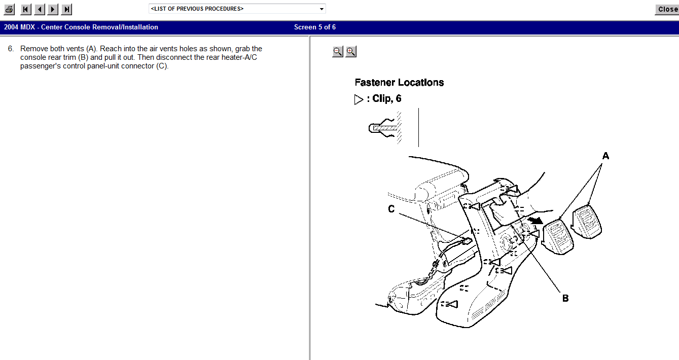 service manual  removing center console in a 2011 acura