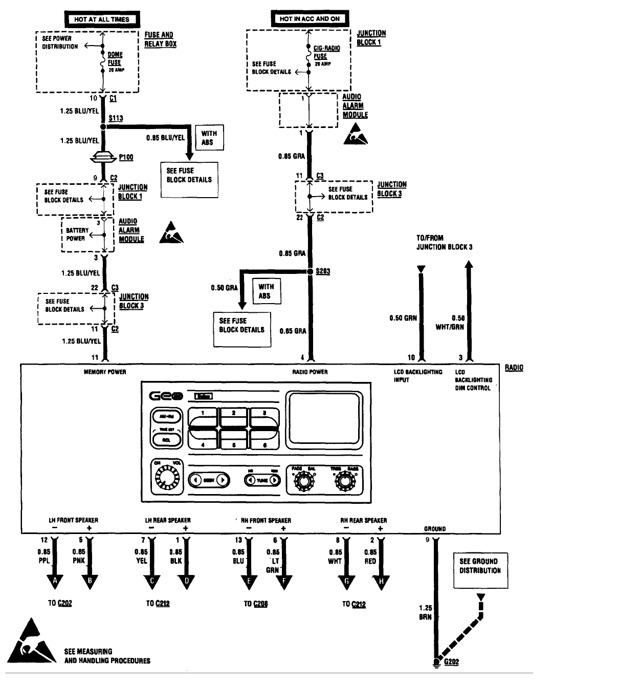 what is the wiring color code for a radio in a 1996 geo metro