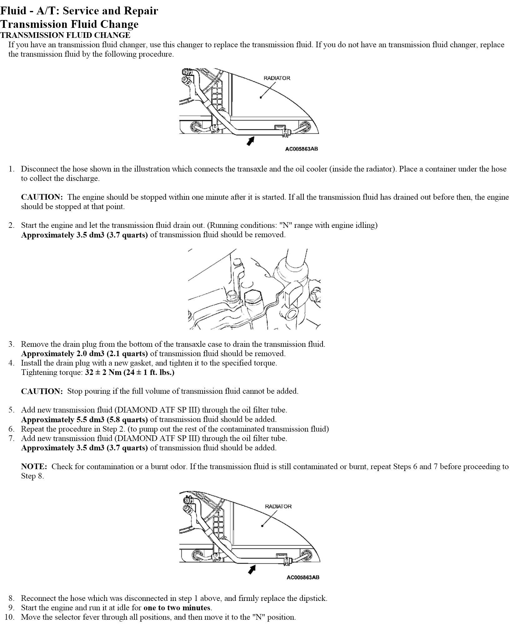 Transmission Fluid Change: 2002 Mitsubishi Lancer Manual Transmission Fluid Change
