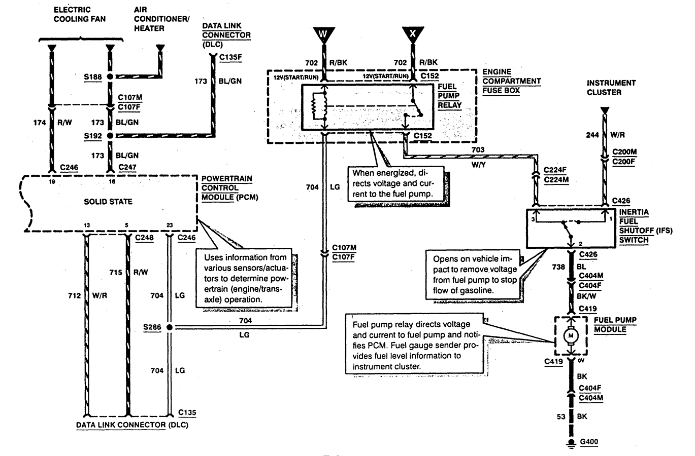 ford probe fuel pump diagram my 95 probe wont run i checked power to the fuel pump ...