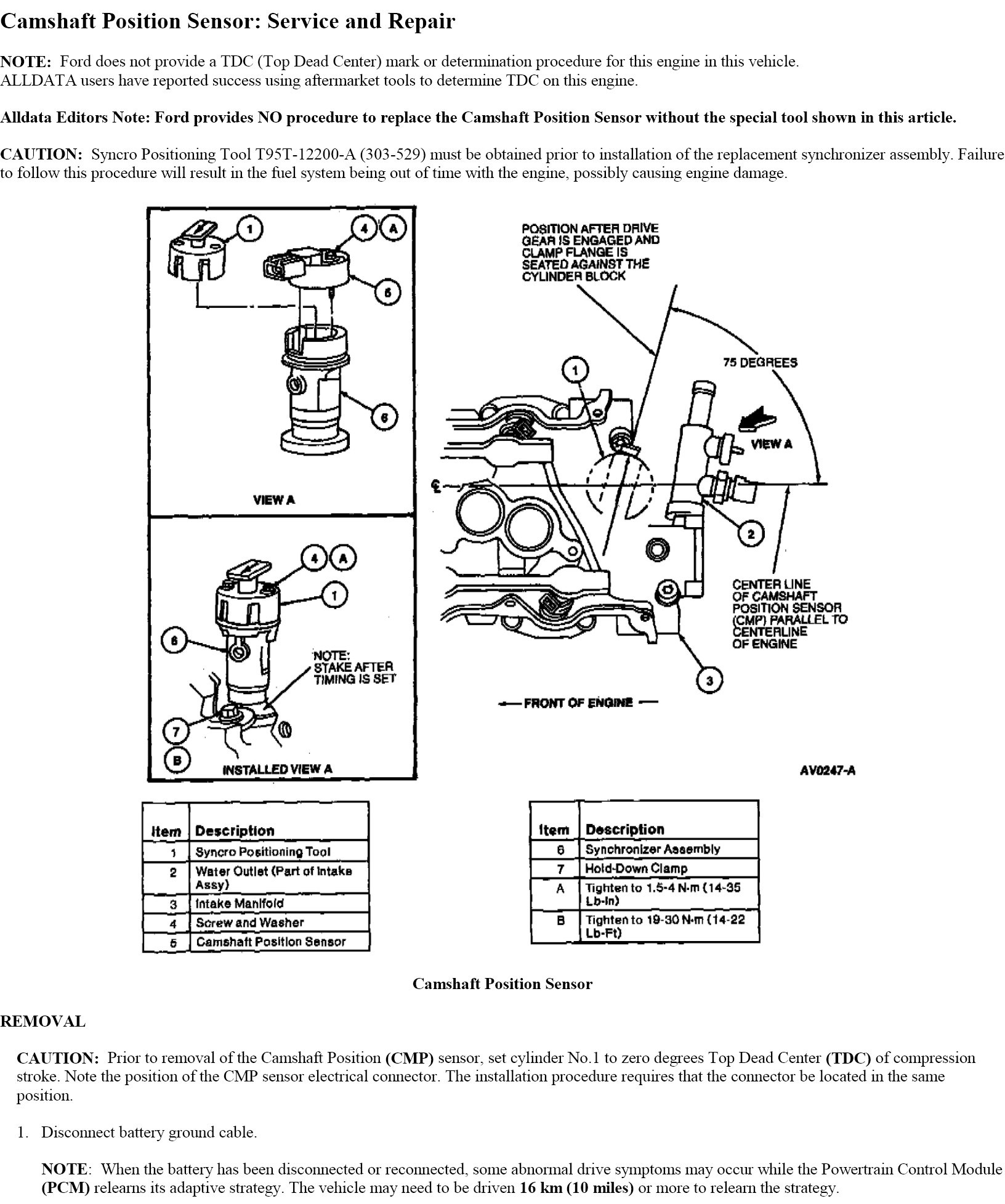 Where Is The Camshaft Sensor Located On A 1997 Ford Taurus