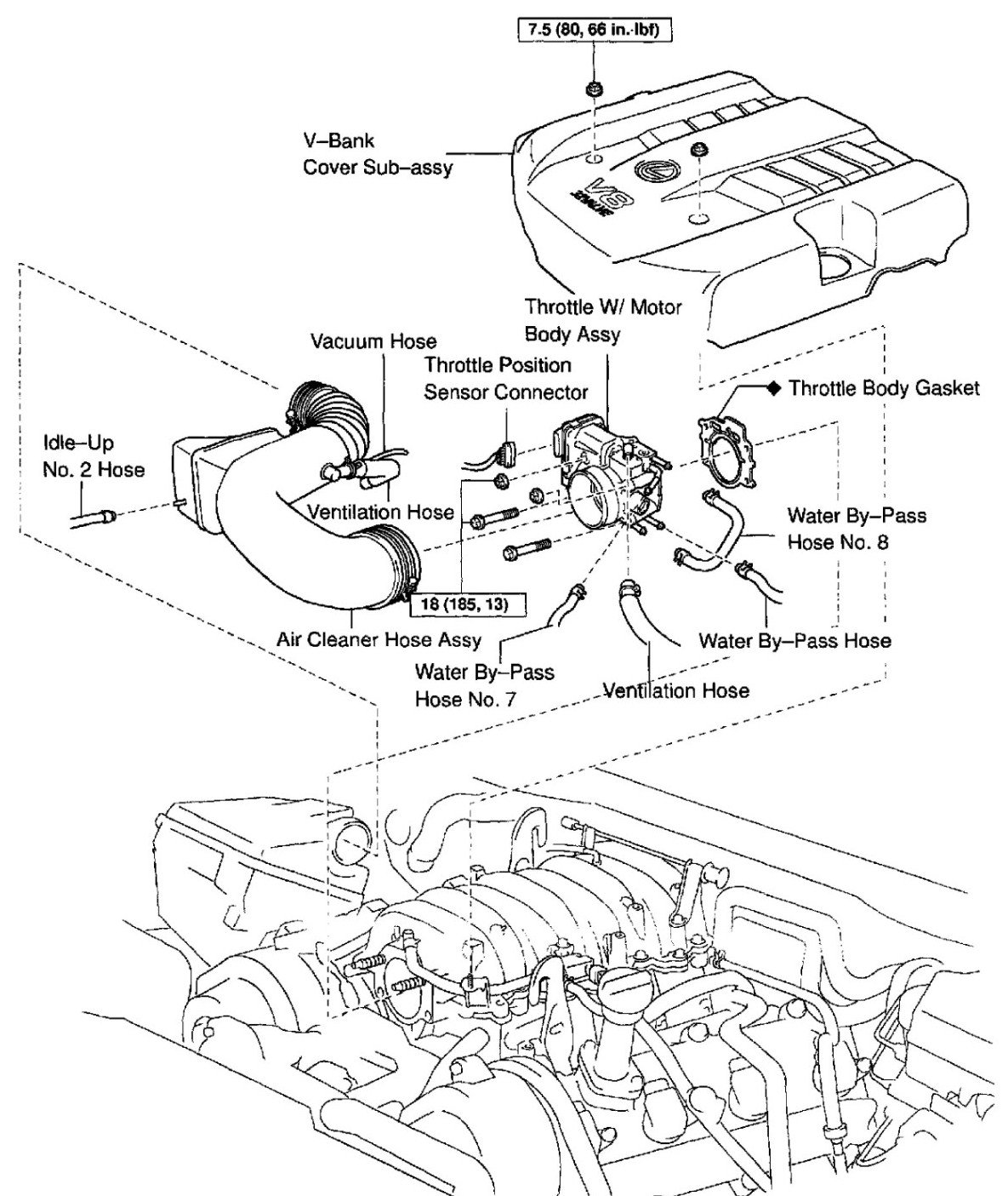 lexus rx300 knock sensor location