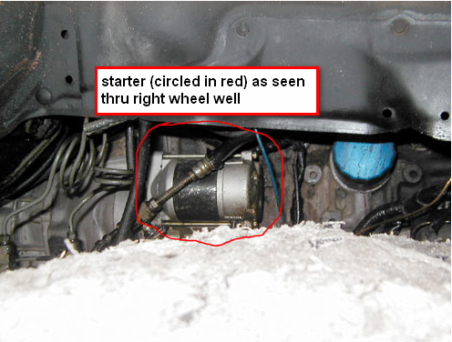 where is the starter on an toyota pickup x spd man graphic