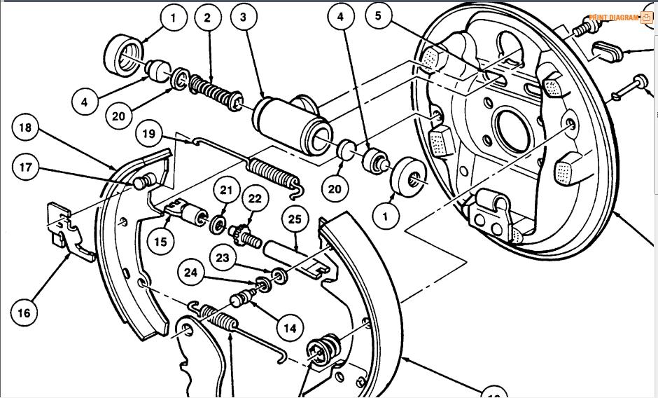 ford ranger drum brake diagram