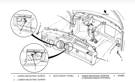service manual  1993 cadillac deville control panel remove