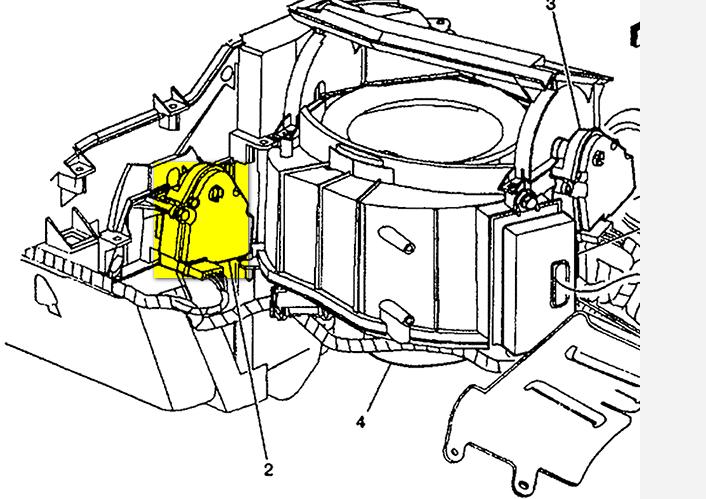 where are the buick 2001 lesabre blend door actuators
