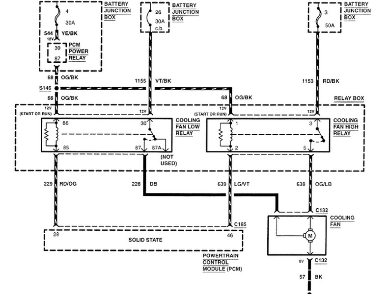 2000 ford schematic for the electrical fan system relays any the first thing to do is to unplug the fan and run jumper wires from the battery to the fan to make sure it works if it doesnt run 12v run