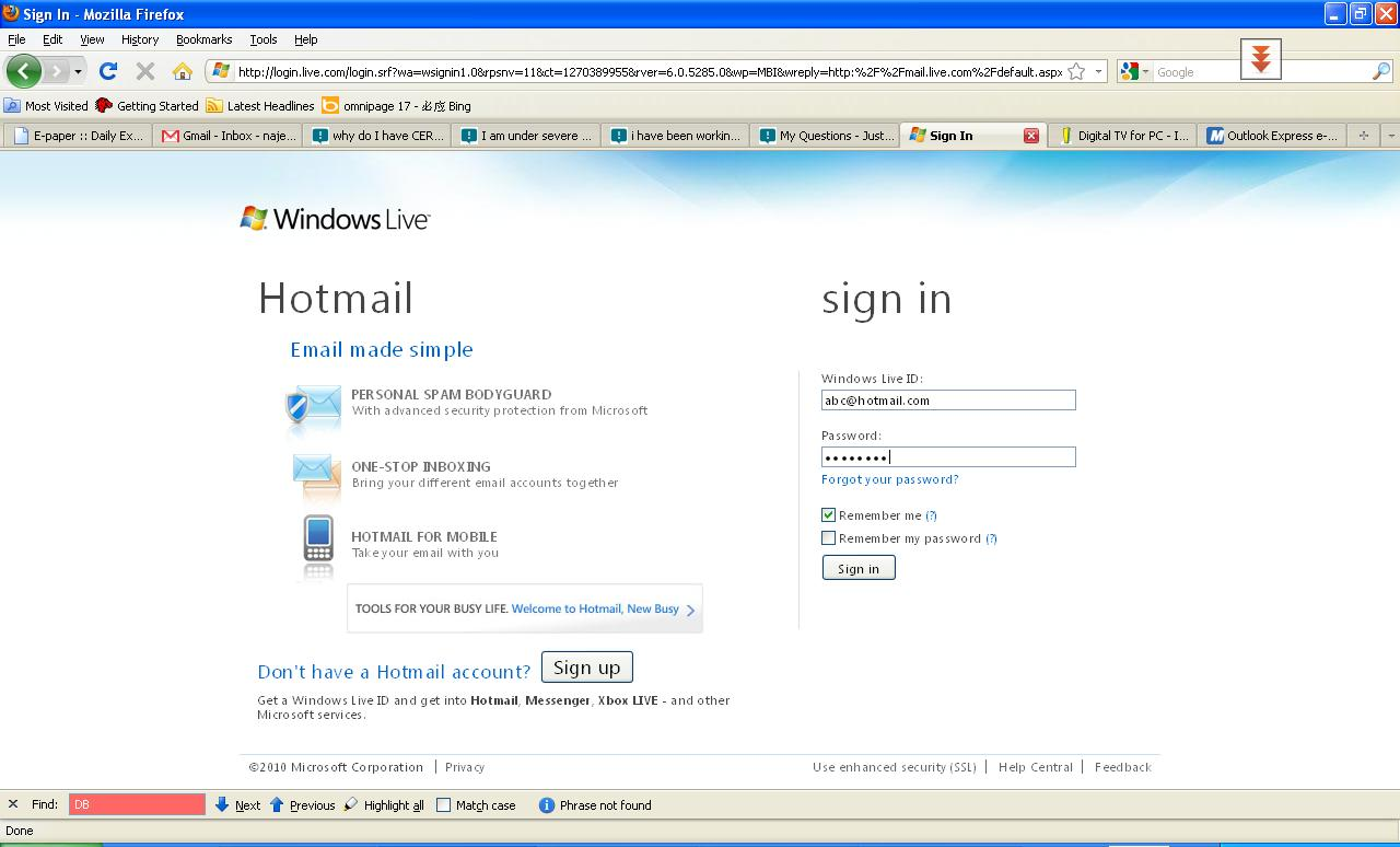 Hotmail Sign In Box on the hotmail sign in