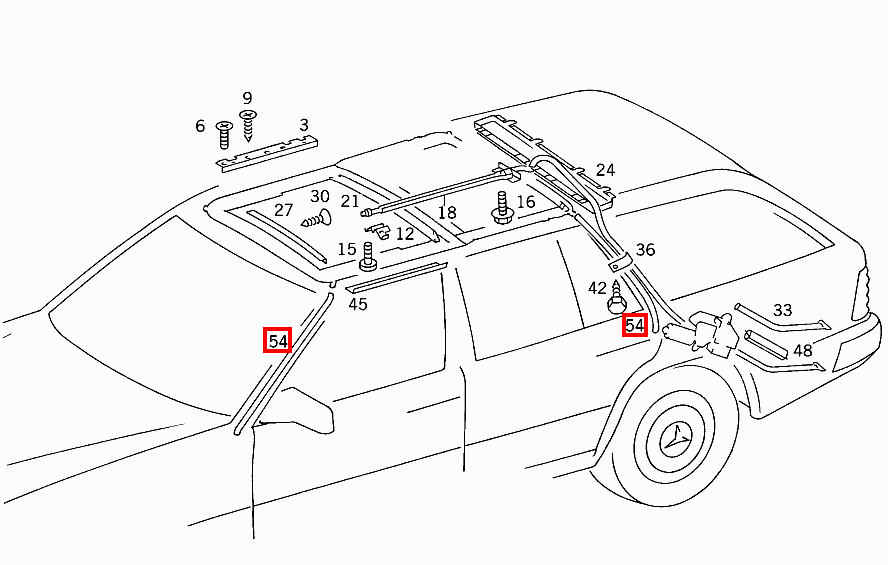 mercedes sunroof parts