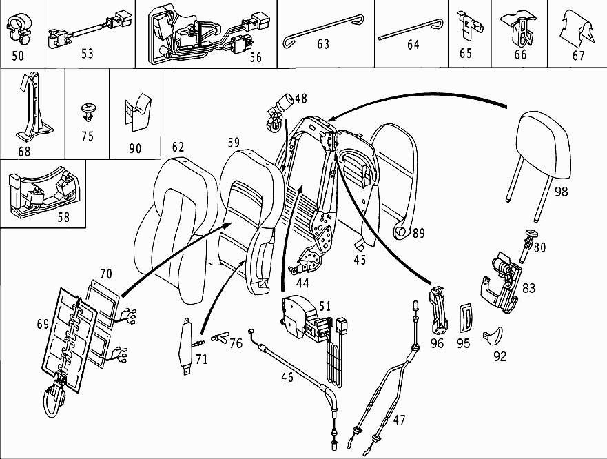 where can i find a diagram or exploded view of the passenger seat of a mb clk 320  in specific