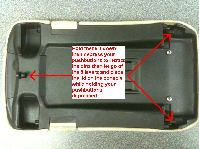 How to repair latch on center console lid 2005 clk320 for Mercedes benz center console lid
