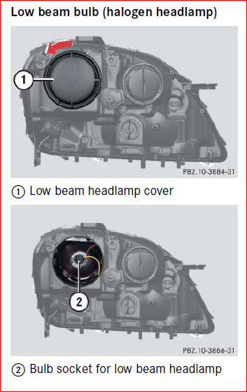 How do you change a low beam headlight bulb on a 2003 for Mercedes benz ml350 headlight bulb