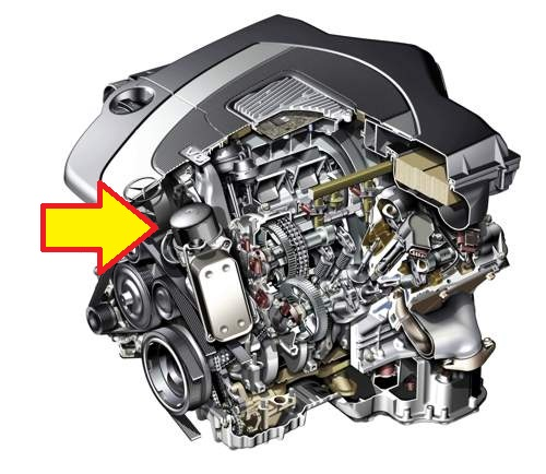 Where is the oil filter located on 2010 glk350 also the for Mercedes benz m272 engine