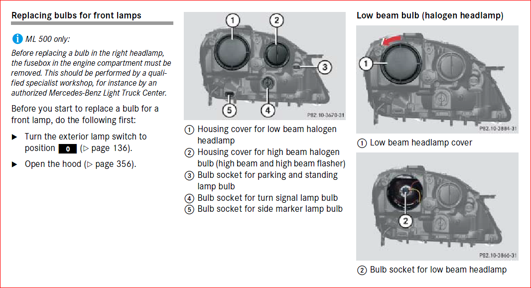 Need To Replace Front Right Quot Park Quot Light Ml350