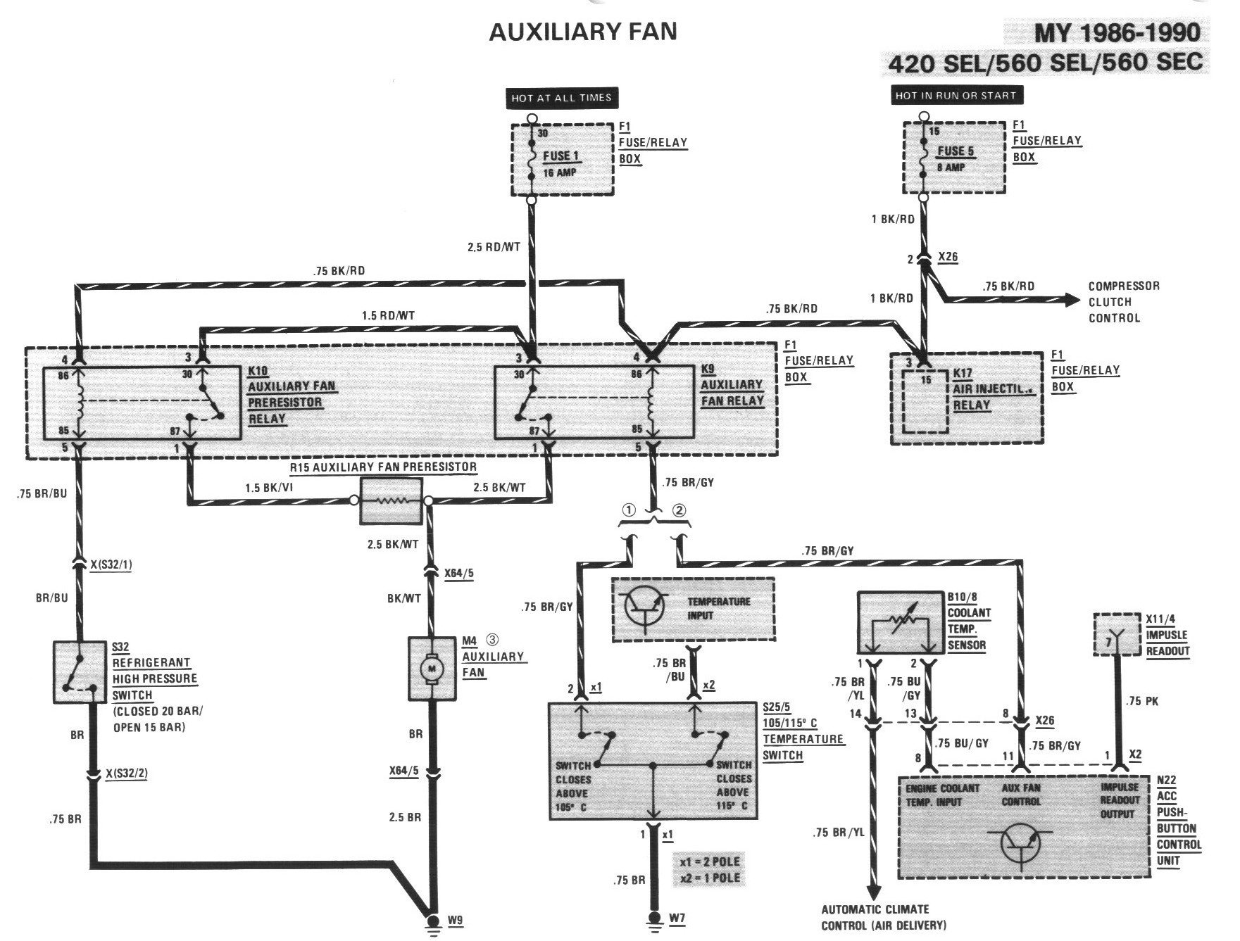 mercedes 560sel i need wiring diagram of the auxilary