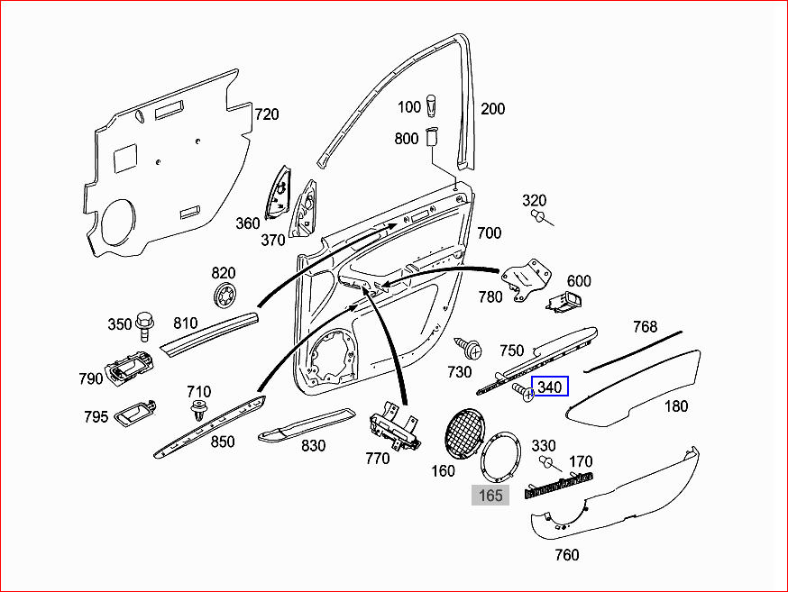 mercedes door panel diagram