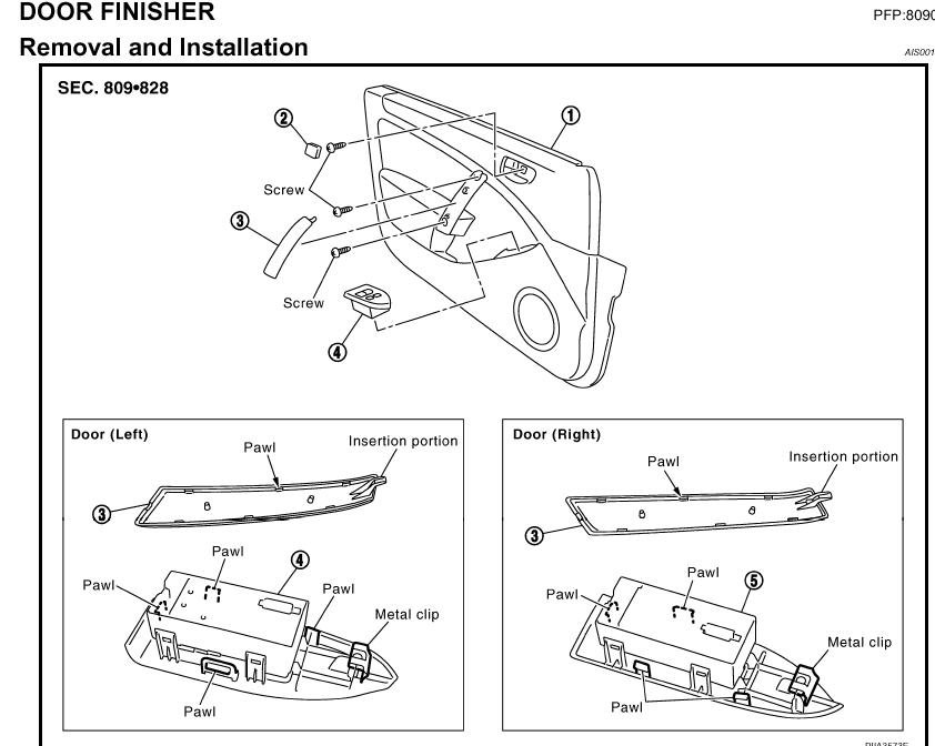 Service manual diagrams to remove 2006 nissan 350z driver for G35 window motor recall