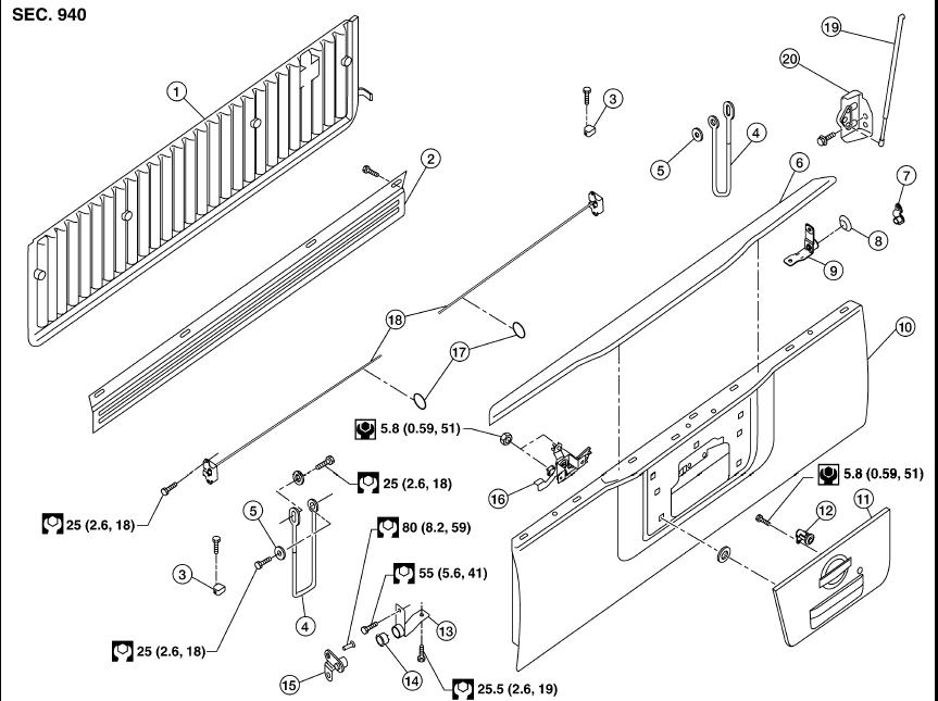Nissan Frontier Tailgate Hinge Parts Diagram on 2007 Volvo S40 Fuse Box Location